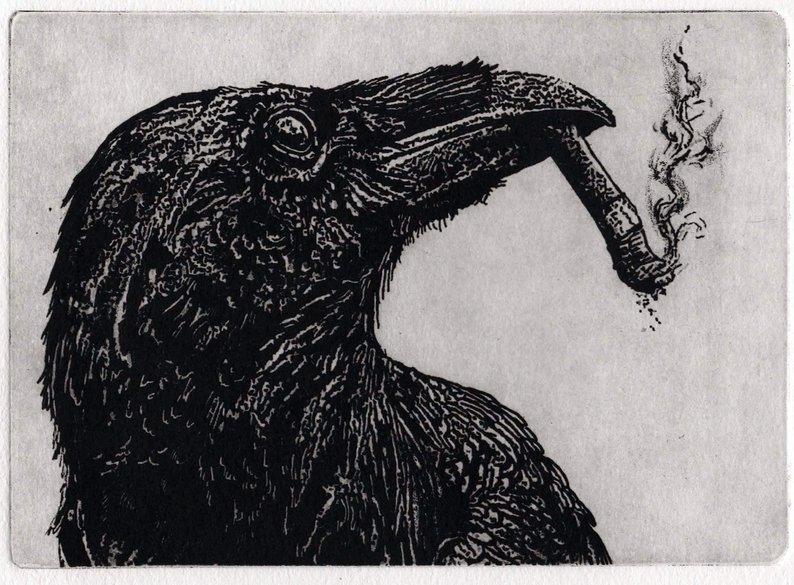 smoking crow